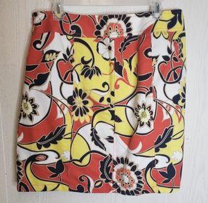 Ann Taylor floral print mini skirt with pockets
